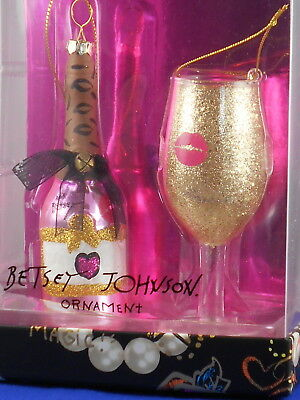 Betsey Johnson HOLIDAY GIVING Sparkle Wine Glass Bottle Ornament Set 2 Boxed