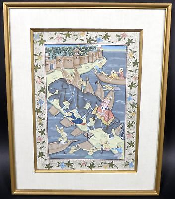 Vintage Indian Persian Mughal Framed Hand Painting on Fabric Silk