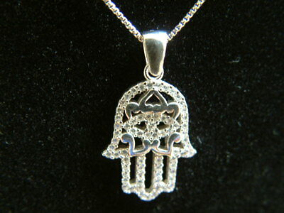 Beautiful Sterling Silver Hamsa with Clear CZ's on a Chain 925