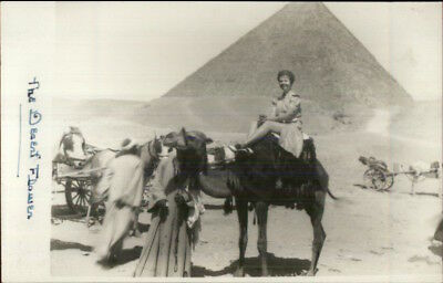 Yourist - Woman on Camcel - Pyramid Giza Egypt Real Photo Postcard
