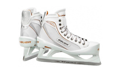 New Bauer One80LE Ice Hockey Goalie skates size 5.5D junior white/gold boys JR