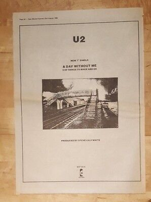 U2 A day without me 1980 press advert Full page 37 x 27 cm poster