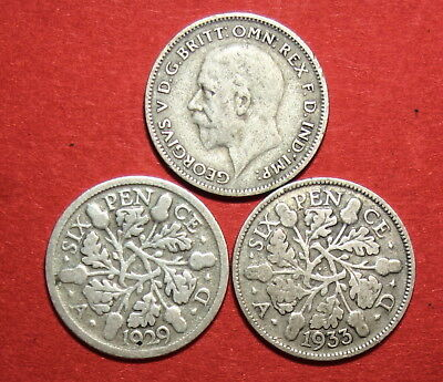 Great Britain : Three Sixpence . 1929, 1931 & 1933.   0.500 Silver