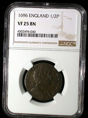 England 1696 1/2 Penny *NGC VF-25* William & Mary Very Rare Only 2 Graded Higher