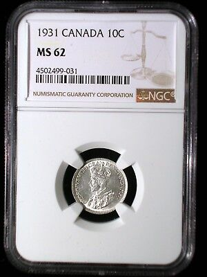 Canada 1931 10 Cents *NGC MS-62* Scarce in UNC Bright White Looks Great