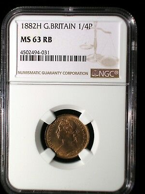 Great Britain 1882H 1/4 Penny Farthing *NGC MS-63RB* Scarcer Heaton Mint Issue