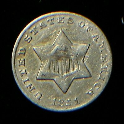 1851 3 Cents Silver Type Coin *High End VF* Original and Problem Free
