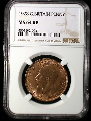 Great Britain 1928 Penny *NGC MS-64 RB* Sharp Lustrous Mostly Red Looks Great