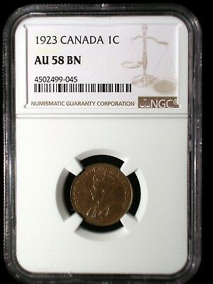 Canada 1923 1 Cent *NGC AU-58* Penny 3rd Lowest Mintage Scarce This Nice