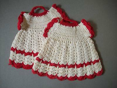 Creme and red crochet potholders hot pads in shape of dresses