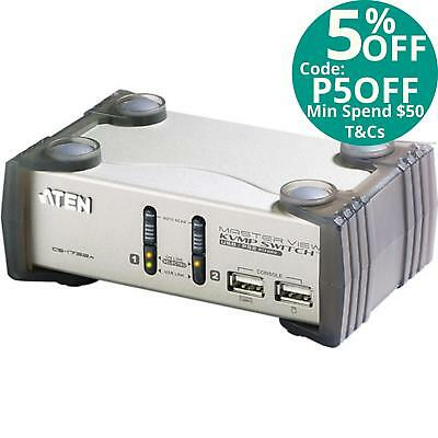 Aten 2 Port USB VGA KVMP Switch with Audio and USB 1.1 Hub - Cables Included CS-