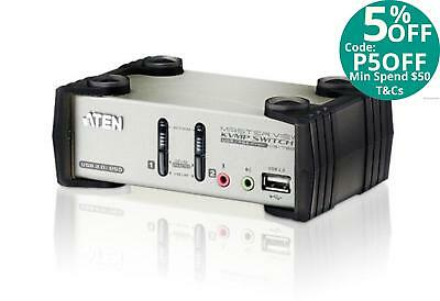 Aten 2 Port USB KVMP Switch with audio and OSD / USB 2.0 Hub - Cables Included C