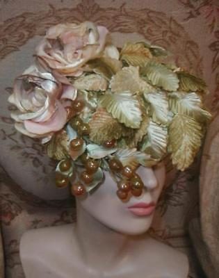 1950s Blush Roses,Velvet Leaves, & Grapes Fairy Queen Hat NORMAN DURAND NY
