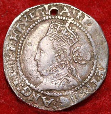 1572 Great Britain 6 Pence Silver Hammered Foreign Coin