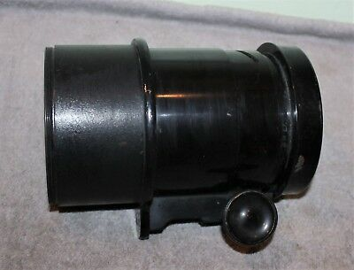 """Antique Bausch & Lomb 4"""" Lens Magic Lantern 18In E.f. Solid Brass Painted Black"""