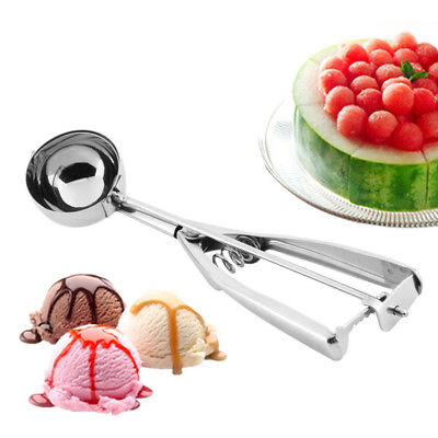 3PCS/Set Stainless Steel Ice Cream Spoon Spring Handle Masher Cookie Scoop H