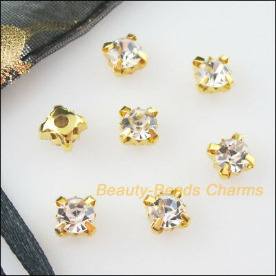 15Pcs Loose Crystal Handmade Sew on Claw Rhinestone White Gold Plated 8mm