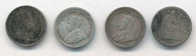 Lot of (4) Mixed Year Silver Half Dimes Exact Coins Shown - FREE Shipping