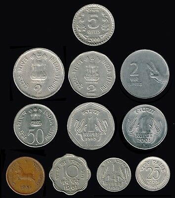 INDIA (Republic):- 11 different, post independence coins !950's present. AP6732