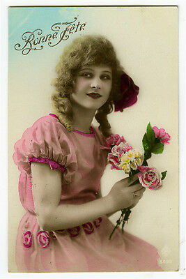 1920s French Deco Lovely LONG HAIRED CURLS Beauty tinted fashion photo postcard