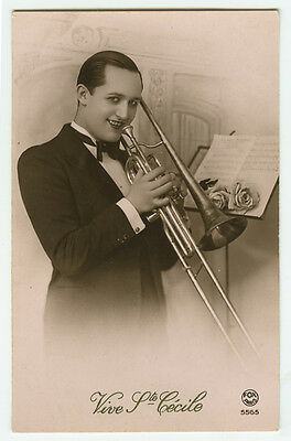 1930's Vintage Big Band TROMBONE PLAYER French Deco photo postcard