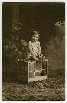 c 1916 Children Child ADORABLE GIRL on Bird Cage tinted French photo postcard