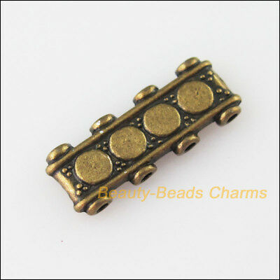 8Pcs Antiqued Bronze 4-Hole Rectangle Spacer Bar Beads Connector Charms 6.5x17mm