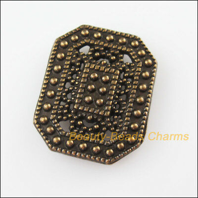 2Pcs Antiqued Bronze 2-2 Hole Rectangle Spacer Bar Beads Connector Charm 20x25mm