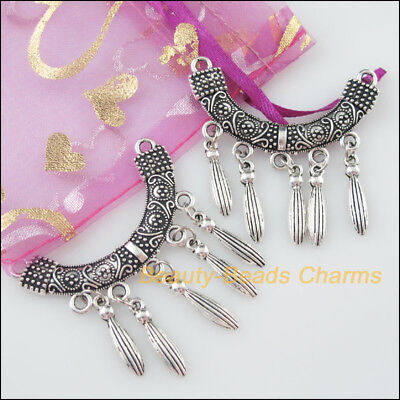 2Pcs Tibetan Silver Tone Curved Flower Tassels Charms Connectors 45x48mm