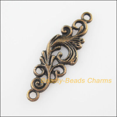 10Pcs Antiqued Bronze Tone Clouds Flower Charms Pendants Connectors 11x35mm