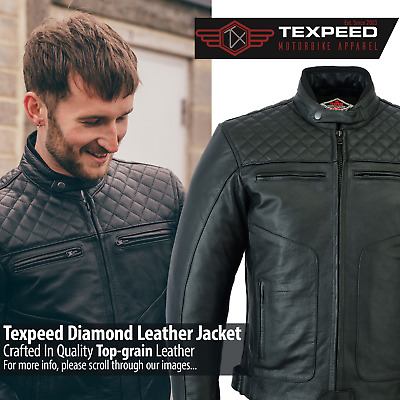 Texpeed Armoured Black Leather Diamond Stitched Motorcycle / Motorbike Jacket
