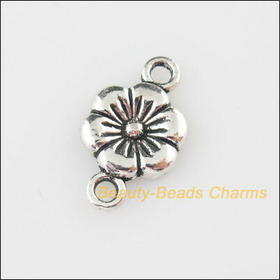 20 New Charms Tiny Flower Tibetan Silver Tone Pendants Connectors 10x18mm