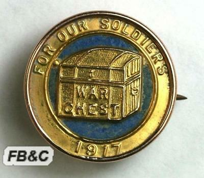 1917 War Chest Badge in Original 9ct Gold Setting - For Our Soldiers