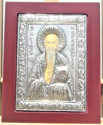 Greek Orthodox Icon Of Saint Charalambos Sterling Silver Made In Italy