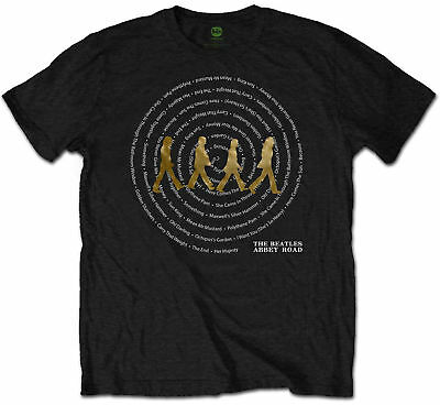 THE BEATLES Abbey Road Songs Titles Swirl Black T-SHIRT OFFICIAL MERCHANDISE