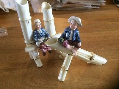 1 Pair Of Victorian China Cane Figures. Boy And Girl.
