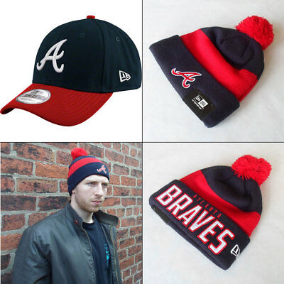 Atlanta Braves Officially licenced MLB New Era 9FORTY Adjustable Cap + Knit Hat