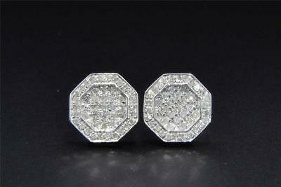 35be0b1ab Diamond Studs 10K White Gold Round Cut 0.38 Ct Octagon Shape Earrings