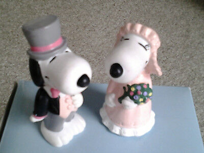 SNOOPY & SISTER BELLE BRIDE & GROOM 80s era APPLAUSE PVC FIGURES or CAKE TOPPERS