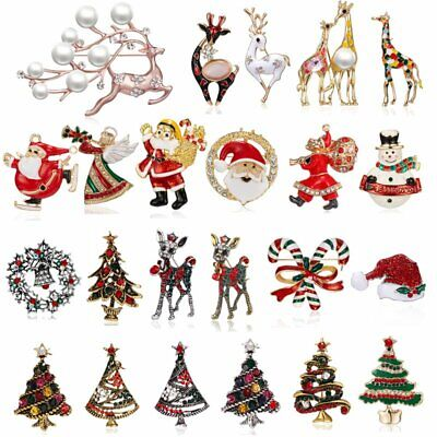 Fashion Christmas Tree Deer Bell Snowman Enamel Brooch Pin Xmas Party Jewelry