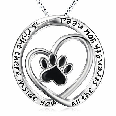 Infinity Puppy Dog Paw Print Sterling Silver Love Heart Pendant Necklace Jewelry