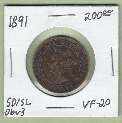 1891 Canadian Large One Cent Coin - SD/SL Obverse 3  - VF-20