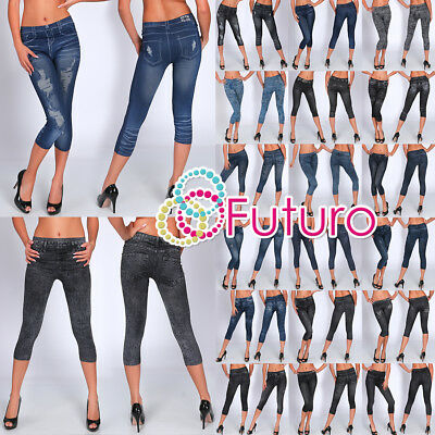 Women Cropped Leggings Denim Look Mid Waist Slimming 3/4 Pants One Size 8-12 MXL