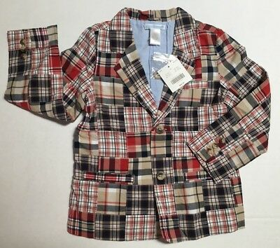 NWT Janie & Jack Out at Sea 4 4T Red Tan & Blue Patchwork Plaid Blazer Jacket