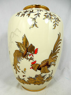 "Rich by hand decorated Jacob Hertel "" Hahnenkampf "" porcelain vase 779 1"