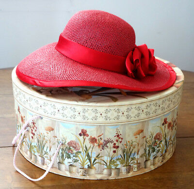 Womens Formal Red Brimmed Woven Hat with Satin Bow + Large Floral Hatbox