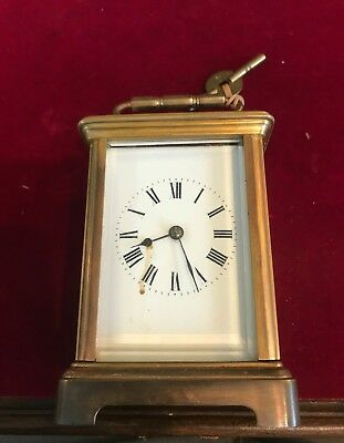 Antique Carriage Clock. Gong Striking Movement & Travelling Case .