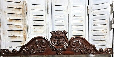 ARCHITECTURAL FLOWER PEDIMENT Antique french hand carved wood crest cornice