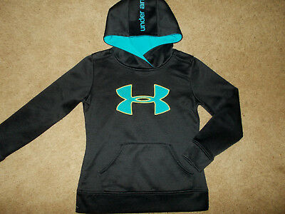 Under Armour Black Hooded Sweatshirt Girls Small Excellent Condition
