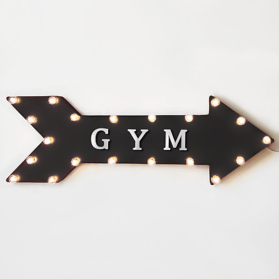 Large Metal Marquee BOXING Ring Boxer Club Studio Workout Arrow Light Up Sign